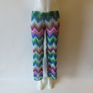 LSPACE MULTI COLOR SHEER SWIMSUIT PANT COVERUP XS